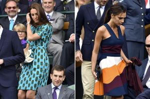Kate Middleton and Victoria Beckham attend the men's final at Wimbledon 2014.